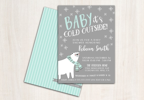 """Baby """"it's Cold"""" Shower Invitation - Baby Shower Invite - Winter Party Supplies"""