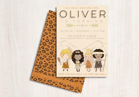 Caveman Party Invitation - Cave Man Dweller Party  - Printable Party Supplies