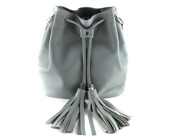 NEW! XL Leather Bucket Bag - Gray | Drawstring Bag | Shoulder Bag | Crossbody | Cowhide Leather | Gray Leather | Handmade