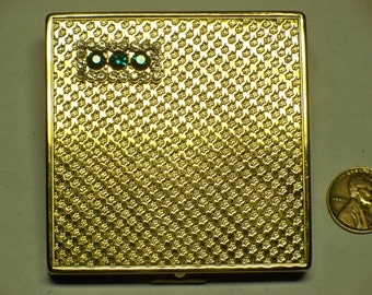 vintage mid century ladies compact gold plated with stones E-420