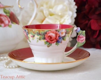 ON SALE Paragon Red Art Deco Antique Teacup Set With Flower Shaped Handle , English Bone China Tea Cup Tapestry Pattern, ca. 1933-1934