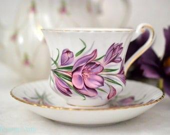 ON SALE Paragon Teacup And Saucer Set With Purple Crocus Flowers, English Bone China Tea Cup, Garden Tea Party, ca. 1957