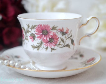 ON SALE Royal Vale Vintage Teacup And Saucer Set, English Bone China Tea Cup Set, Replacement China Pattern 8584, ca. 1959-1966
