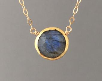 Labradorite Stone Disc Circle Gold Fill Necklace