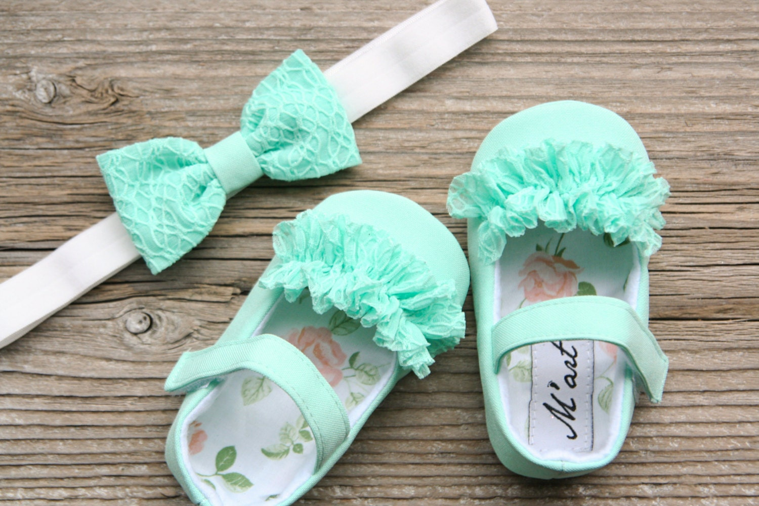 Mint Baby Shoes Aqua Green Baby Headband Flower Girl Shoes