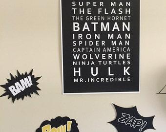 Superhero set of prints
