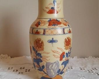 Vintage Porcelain Vase Flower Vase Decorative Oriental Japanese Floral Asian Hong Kong Orange and Blue