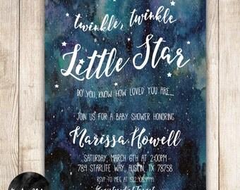 Twinkle Twinkle Little Star, Star, Watercolor, Blue, Baby Shower Invitation- DIY Printable