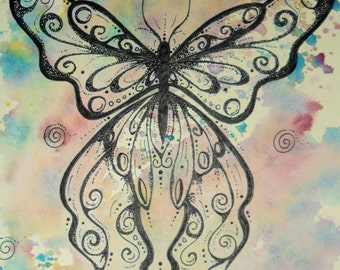 Butterfly Wishes By Andrea Child  special edition Art print with some added Sparkle
