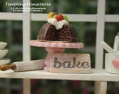Wooden BAKE Sign - 1:12th Dollhouse Miniature