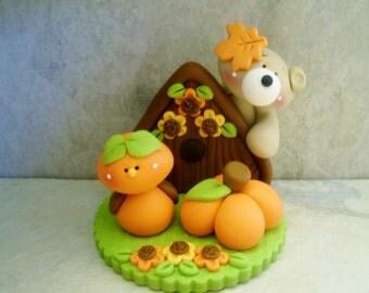 Bird - Birdhouse - Bear - Polymer Clay - Autumn - Fall - Figurine