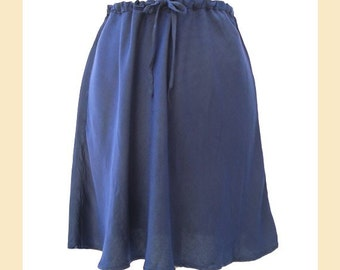 Vintage 1990s skirt by 'Ghost' in ink blue satin viscose, bias cut with drawstring waist, UK size 12 to 14