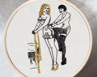 PDF Embroidery PATTERN Best Friends , Bizarre PIN-Up,  Digital Downloadable