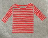 Neon Orange Striped Breton Shirt, Stripe Top, Mariniere, Mum Uniform, Art Print, Wall Decor, French Striped Shirt, Nautical, Screen Print