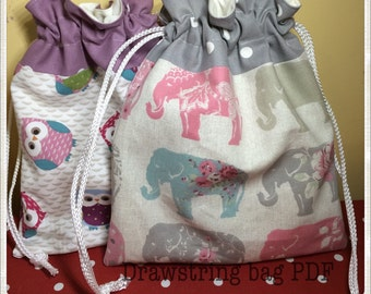 Drawstring Bag pdf tutorial bag making