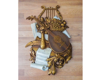 Music Themed Syroco Wood That's Amore Italian Wall Hanging Plaque No. 7236