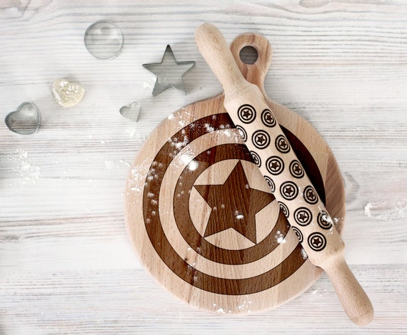 Comic Superhero cutting board and rolling pin - Captain America Wooden Laser Engraved - Personalized Engraved