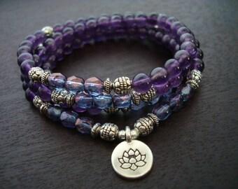 Women's Amethyst Mala Necklace or Wrap Bracelet // Choose a Charm // Yoga, Buddhist, Meditation, Mala Beads, Yoga Jewelry