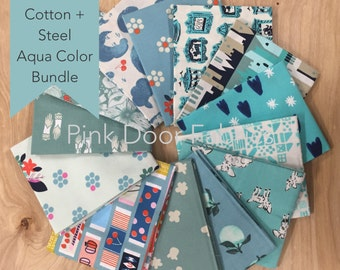 Cotton + Steel - Limited Edition Cotton + Steel Aqua Color Half Yard Bundle (CSAQUAHY) - 13 prints