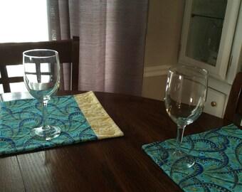 "Hanukah mug rugs, set of two, 10"" square"