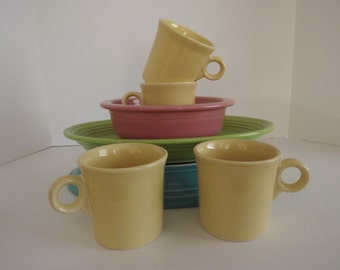 Fiestaware Light Yellow Tom & Gerry Mugs, Homer Laughlin Fiestaware, Discontinued Color, Retro Mugs, Fiestaware Aficionado.