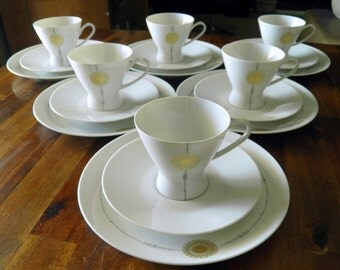 "MINT 18-Piece Raymond Loewy Rosenthal ""Midnite Sun"" Serving Set--Six 3-Pc. Settings (Cup, Saucer, Bread Plate)"