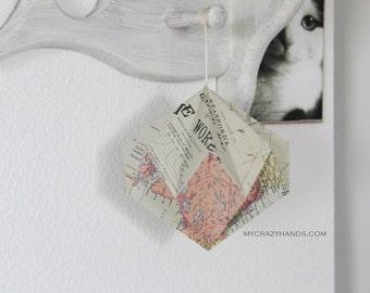 texture map diamond ball || 5 3/8'' paper diamond ||| origami kusudama || origami ball || gift for unisex -the world