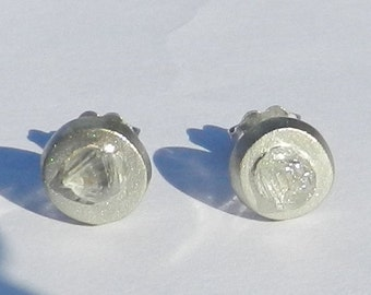 Untreated Natural 1.62 Carat Rough Diamond Earrings 18kt Solid Gold ~ Gem Quality