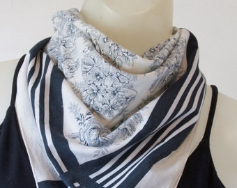 Sonia Rykiel Blue and White Striped Floral Scarf