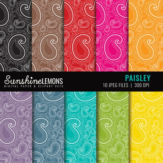 Paisley Digital Scrapbook Paper - Set of 10 in Bakers Twine Colors - COMMERCIAL USE Read Terms Below
