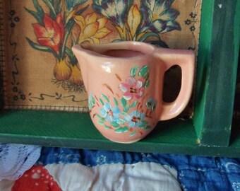 Miniature Pink Pitcher, Hand Painted USA Pottery Pitcher