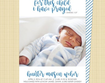 Christian photo birth announcement - [For This Child I Have Prayed] 1 Samuel 1:27 - Digital Printable