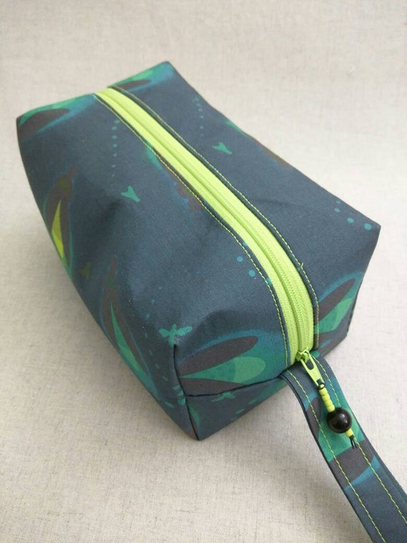 Zippered Knitting Bag : Knitting project bag small zippered box fireflies