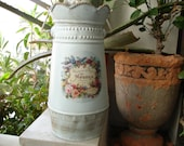pale blue tin jug with vintage French label,shabby chic,metal jug with handle.