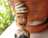 French antique,carved wooden,brandy bottle stopper-painted clown or sailor ?