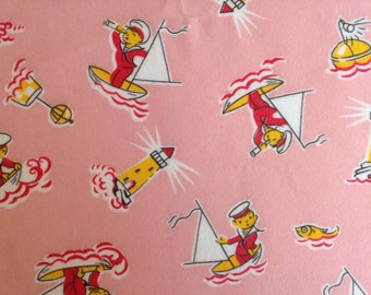 Vintage Fabric, 3 yds / 2.75m, Novelty Design, Unused, Brushed Cotton, UK Seller, NOT Reproduction