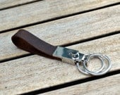 Leather belt loop key chain with double ring - Choose color