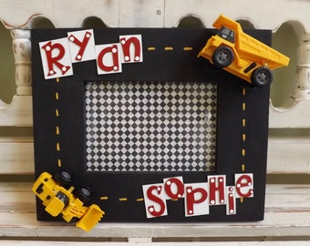 Construction Vehicles Frame Boys Room Gift Picture Personalized 5x7 Photo Dump Trucks Race Cars