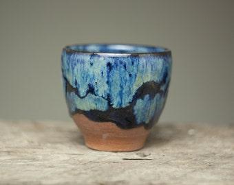 blue black glazed ceramic  bowl  cup tumbler