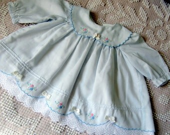 Baby Girl Blue Dress with Embroidered Flowers and White Lace Vintage 1970s Baby Clothing size 6 to 9 months mos.