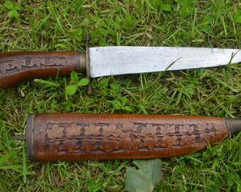 Vintage Indian Carved Wooden Handle Knife with Hand Carved Wood Sheath