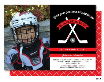 Hockey Photo Invitation, Hockey Party Invitations, Printed or Printable