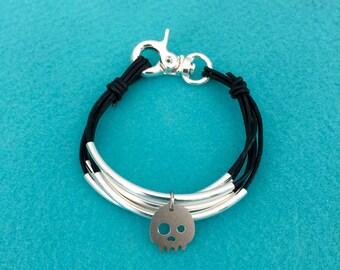 Skull Wrap Leather Bracelet