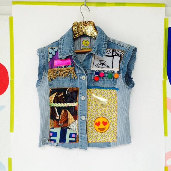 DIVE 5-7 Years Denim Jacket Upcycled with Fringe Patch and Pom Pom Trim A