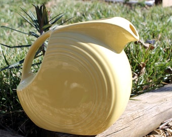 Vintage Fiesta Large Disc Pitcher, 64oz. Yellow, Homer Laughlin, Stamped, Fiestaware