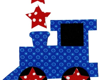 Iron on train with stars - 4th of July iron on applique - holiday applique