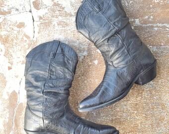 50% OFF Vtg 80s Blk Slouchy Cowboy Boots •  Soft Pebble Leather / Faux Croc Western Boots - M 8.5 | W 10