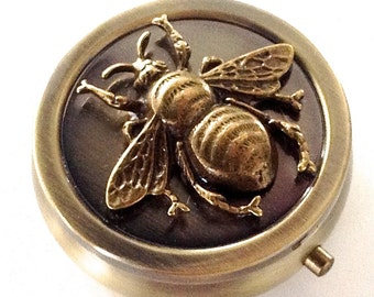 SALE  - Honey Bee Vintage Bronze Pill Box - Purse Pill Case - Travel Pill Case - Birth Control Pill Case - Pill Box - 7 Day Pill Case
