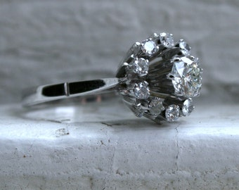 Retro Vintage 18K White Gold Diamond Cluster Engagement Ring with GIA certificate- 1.13ct.