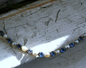 Great Montana Sapphire and Pearl Necklace in 10K/ 14K Yellow Gold.